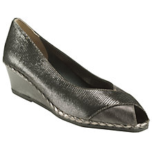 Buy John Lewis Imogen Leather Wedge Rope Trim Court Shoes, Pewter Online at johnlewis.com