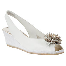 Buy John Lewis Rose Wedge Heeled Leather Sandals, White Online at johnlewis.com