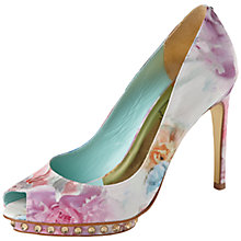 Buy Ted Baker Leonar Floral Peep-Toe Court Shoes, Green/Multi Online at johnlewis.com