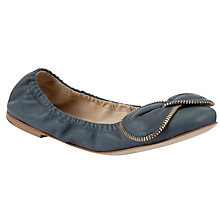 Buy See by Chloé Zipper Bow Ballerina Flat Pumps, Grey / Blue Online at johnlewis.com