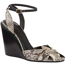 Buy See by Chloé Snake Print Leather Metal Trim Wedge Heel Sandals, Beige Online at johnlewis.com