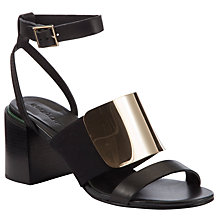 Buy See by Chloé Metal Plate Ankle Strap Block Heel Sandals, Black Online at johnlewis.com