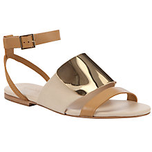 Buy See by Chloé Metal Plate Ankle Strap Flat Sandals, Tan Online at johnlewis.com