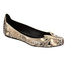 Buy See By Chloé, Leather Snake Print Ballet Pumps, Beige Online at johnlewis.com