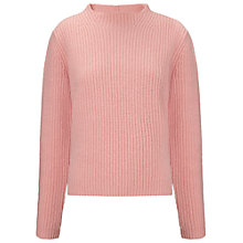 Buy Whistles Rumi Ribbed Funnel Jumper, Pink Online at johnlewis.com