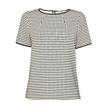 Buy Oasis Check Jacquard T-Shirt, Black/White Online at johnlewis.com