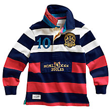 Buy Little Joule Boys' Menaces Stripe Rugby Polo Shirt, Navy/Red Online at johnlewis.com