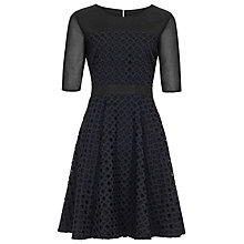 Buy Reiss Sheer Sleeve Fit and Flare Dress, Black/Navy Online at johnlewis.com