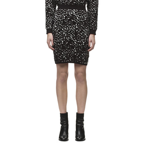 Buy Whistles Jacquard Knit Skirt, Black/Multi Online at johnlewis.com