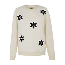 Buy NW3 by Hobbs White Star Jumper, Barley White Online at johnlewis.com