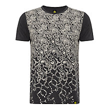 Buy Pretty Green Paisley Faded T-Shirt, Dark Grey Marl Online at johnlewis.com