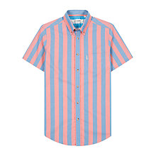 Buy Ben Sherman Candy Stripe Short Sleeve Shirt, Cranberry/Light Blue Online at johnlewis.com