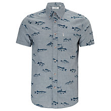 Buy Ben Sherman Fish Print Short Sleeve Shirt, Blue Atoll Online at johnlewis.com
