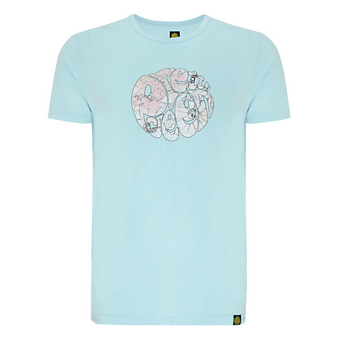 Buy Pretty Green Floral Logo Cotton T-Shirt, Pale Blue Online at johnlewis.com