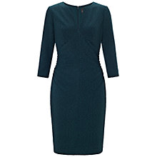 Buy Adrianna Papell Side Ruched 3/4 Sleeve Dress, Hunter Online at johnlewis.com
