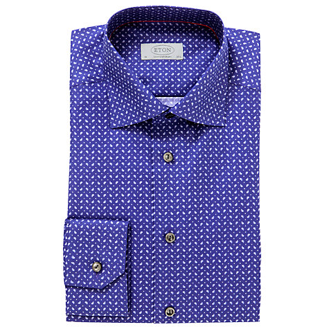 Buy Eton Micro Paisley Print Long Sleeve Shirt, Navy Online at johnlewis.com