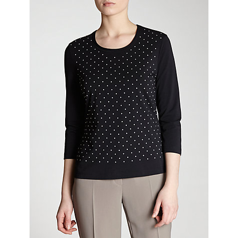 Buy Gerry Weber Studded Jersey Top, Marine Online at johnlewis.com