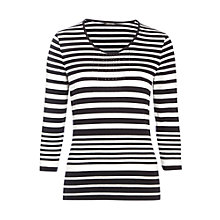 Buy Gerry Weber Stripe Sparkle Top, Navy/White Online at johnlewis.com