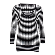 Buy Gerry Weber Textured Insert Jumper, Navy/White Online at johnlewis.com