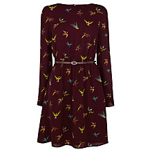 Buy Oasis Tropical Bird Dress, Burgundy Online at johnlewis.com