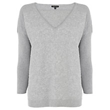 Buy Warehouse V Raised Jacquard Jumper, Light Grey Online at johnlewis.com