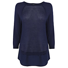 Buy Warehouse Double Hem Jumper, Navy Online at johnlewis.com