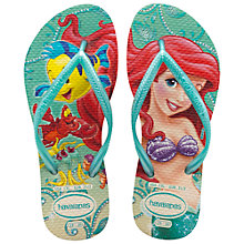 Buy Havaianas Princess Ariel Girls' Flip Flops, Green Online at johnlewis.com