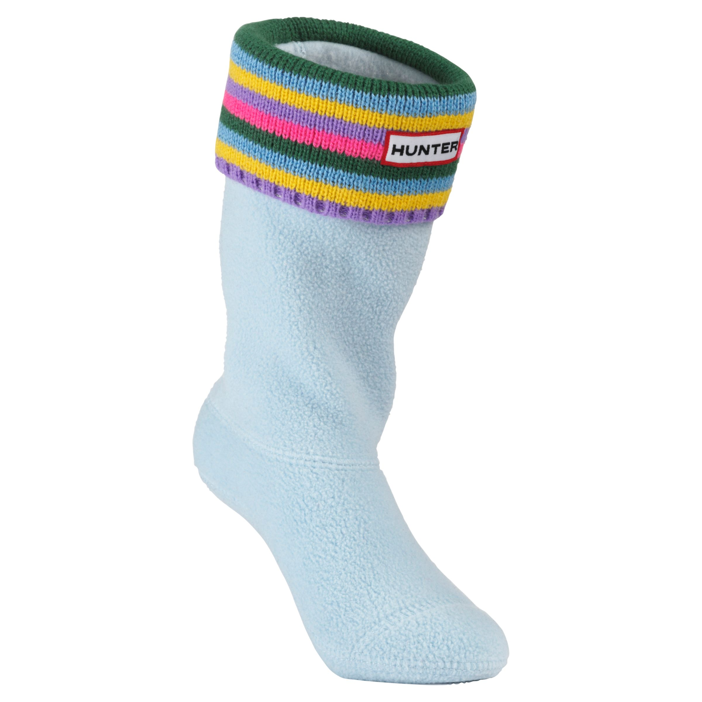 Hunter Stripe Fleece Stripe Wellington Boot Socks, Blue/Multi