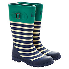 Buy Little Joule Stripe Wellingtons, Navy/Green/White Online at johnlewis.com