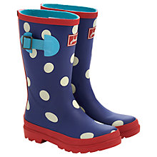 Buy Little Joule Polka Dot Wellington Boots, Blue/Red Online at johnlewis.com