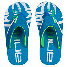 Buy Animal Kids' Jekyl Logo Print Flip Flops, Blue/Green Online at johnlewis.com
