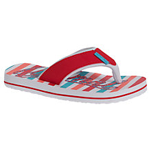 Buy Animal Childrens' Swish Stripe Logo Print Flip Flops, Red/Blue Online at johnlewis.com