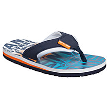 Buy Animal Childrens' Jekyl Repeat Logo Flip Flops, Orange/Blue Online at johnlewis.com