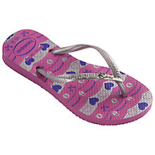 Buy Havaianas Slim Dream Flip Flops, Pink/Silver Online at johnlewis.com