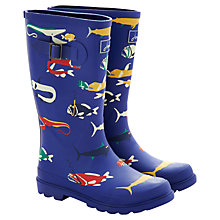 Buy Little Joule Scary Fish Wellingtons, Blue/Multi Online at johnlewis.com