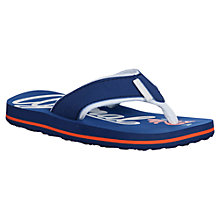 Buy Animal Childrens' Swish Logo Print Flip Flops, Navy Online at johnlewis.com