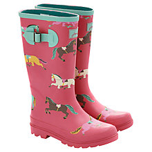 Buy Little Joule Pony Wellington Boots, Pink/Multi Online at johnlewis.com