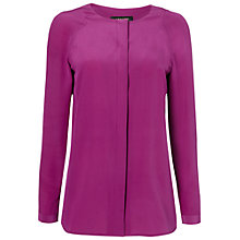 Buy Jaeger Collarless Silk Blouse, Magenta Online at johnlewis.com