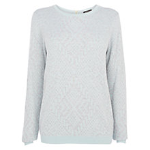 Buy Warehouse Geo Pattern Block Jumper, Light Grey Online at johnlewis.com