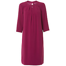 Buy Jaeger 3/4 Sleeve Ruched Neck Dress, Bright Purple Online at johnlewis.com
