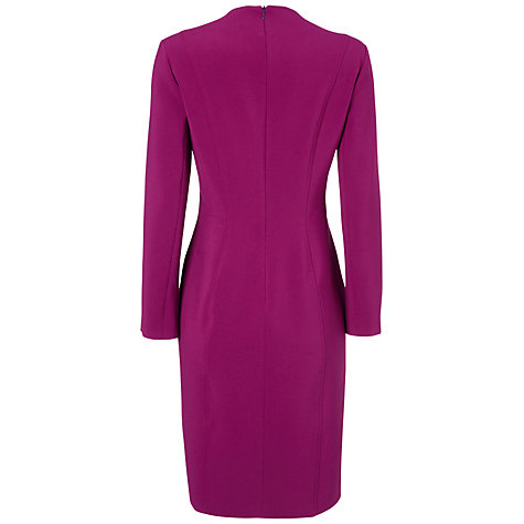 Buy Jaeger Top Stitch V Neck Dress, Magenta Online at johnlewis.com