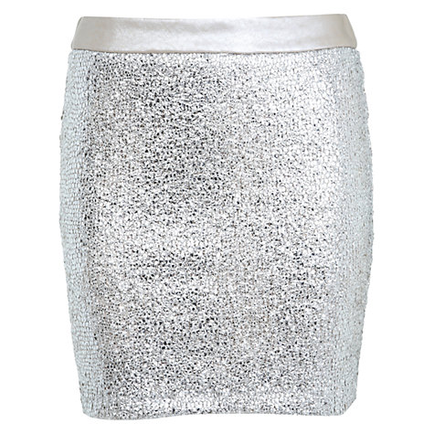 Buy Miss Selfridge Shimmer Mini Skirt, Silver Online at johnlewis.com