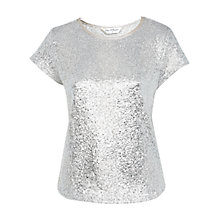 Buy Miss Selfridge Shimmer Foil T-Shirt, Silver Online at johnlewis.com