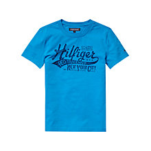 Buy Tommy Hilfiger Boy's Logo T-Shirt, Blue Online at johnlewis.com