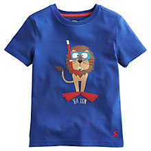 Buy Little Joule Boys' Archie Lion T-Shirt, Blue Online at johnlewis.com