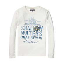 Buy Tommy Hilfiger Boy's Long Sleeve Slub T-Shirt, White Online at johnlewis.com
