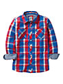Crew Clothing Boys' Bright Check Shirt, Red/Blue