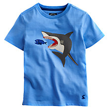 Buy Little Joule Boys' Archie Short Sleeve Shark T-Shirt, Blue Online at johnlewis.com