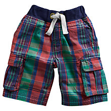 Buy Little Joule Boys' Bob Check Shorts, Navy/Multi Online at johnlewis.com
