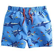 Buy Little Joule Shark Print Swim Shorts, Light Blue Online at johnlewis.com